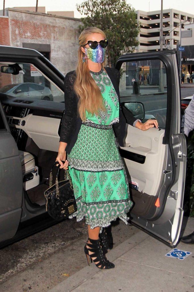 Paris Hilton in a Green Dress