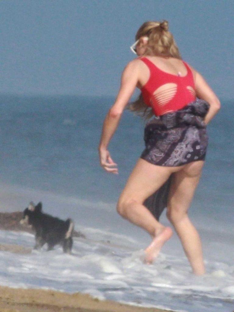 Paris Hilton in a Red Swimsuit