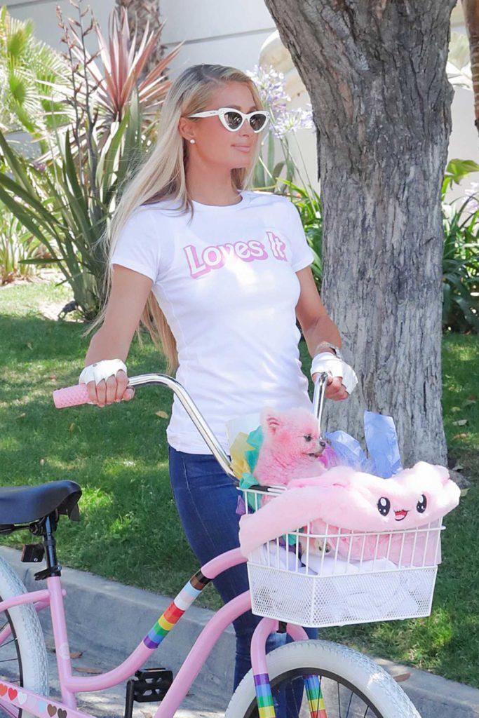 Paris Hilton in a White Tee