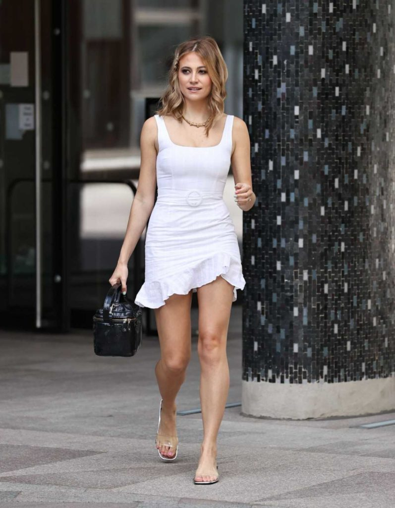 Pixie Lott in a White Mini Dress