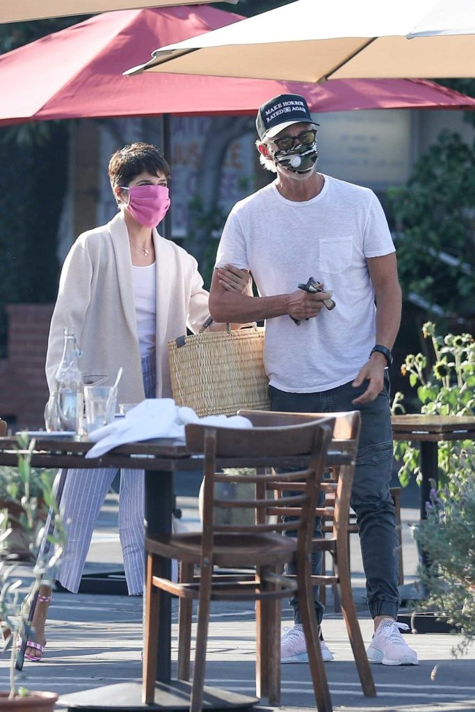 Selma Blair in a Pink Protective Mask
