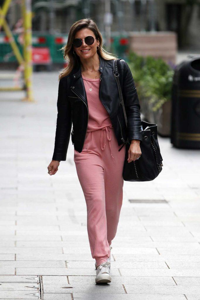 Zoe Hardman in a Black Leather Jacket