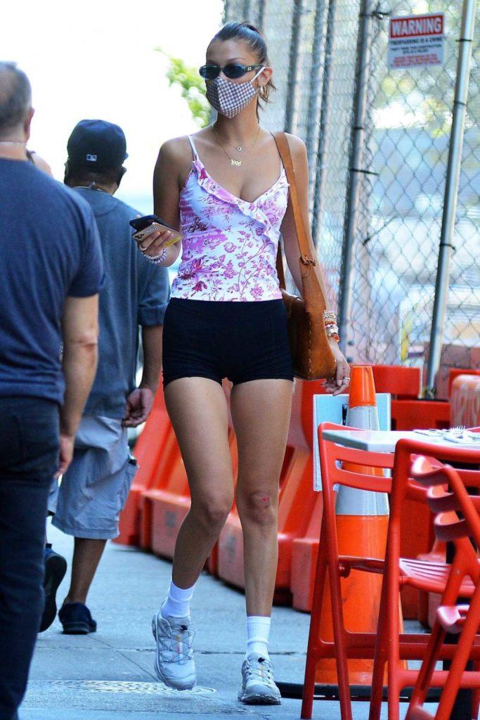 Bella Hadid in a Black Spandex Shorts