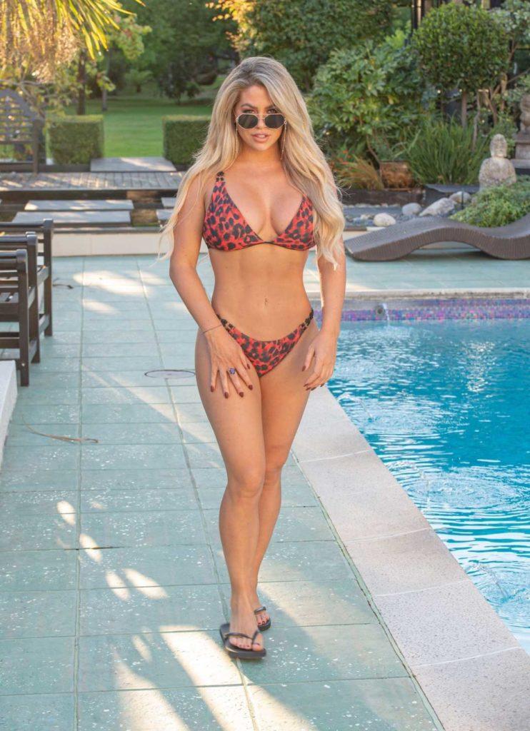 Bianca Gascoigne in a Red Animal Print Bikini