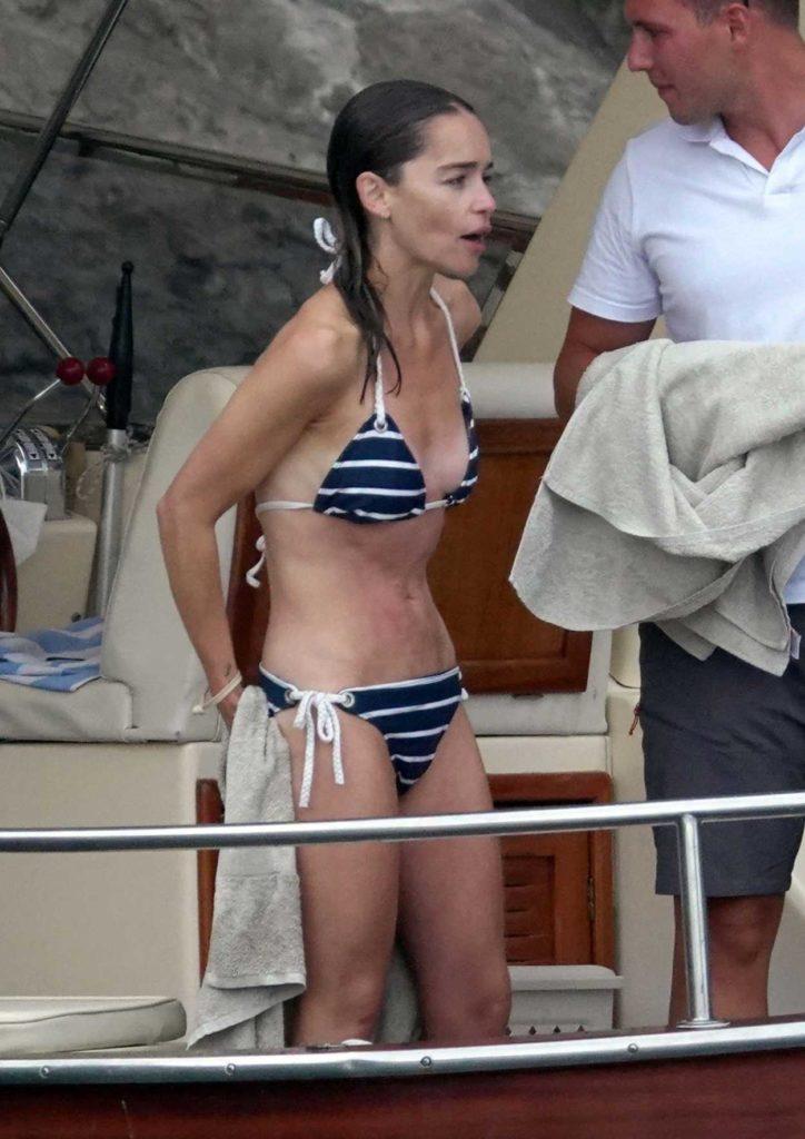 Emilia Clarke in a Striped Bikini