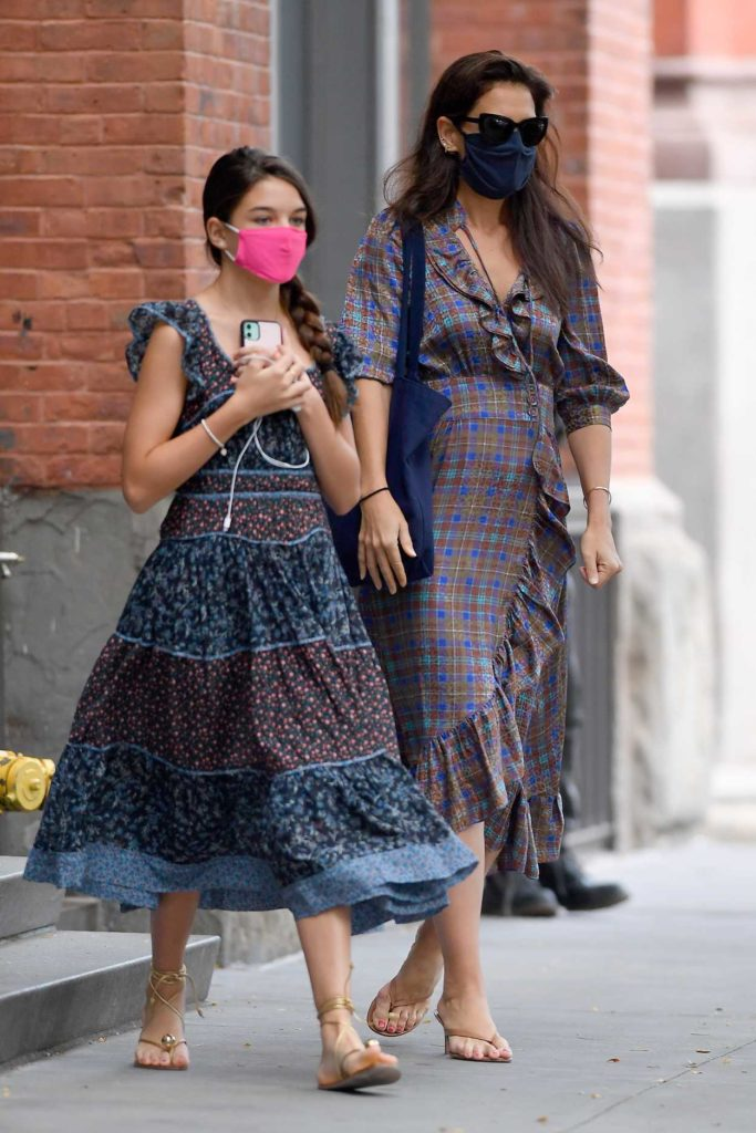 Katie Holmes in a Black Protective Mask