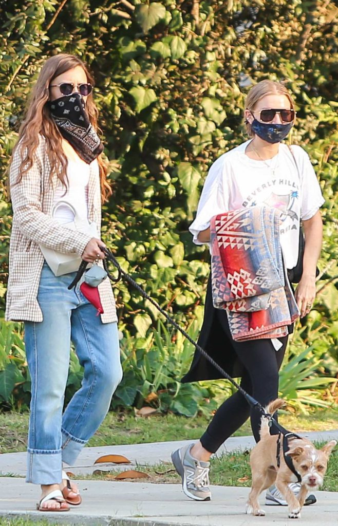 Lily Collins in a Bandana as a Face Mask