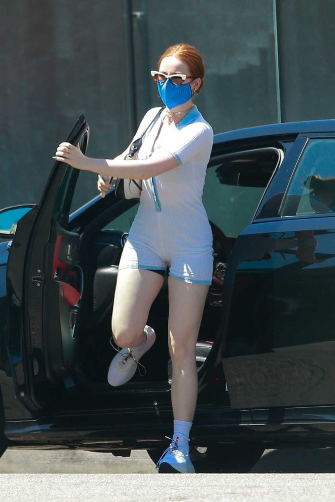 Madelaine Petsch in a Blue Protective Mask