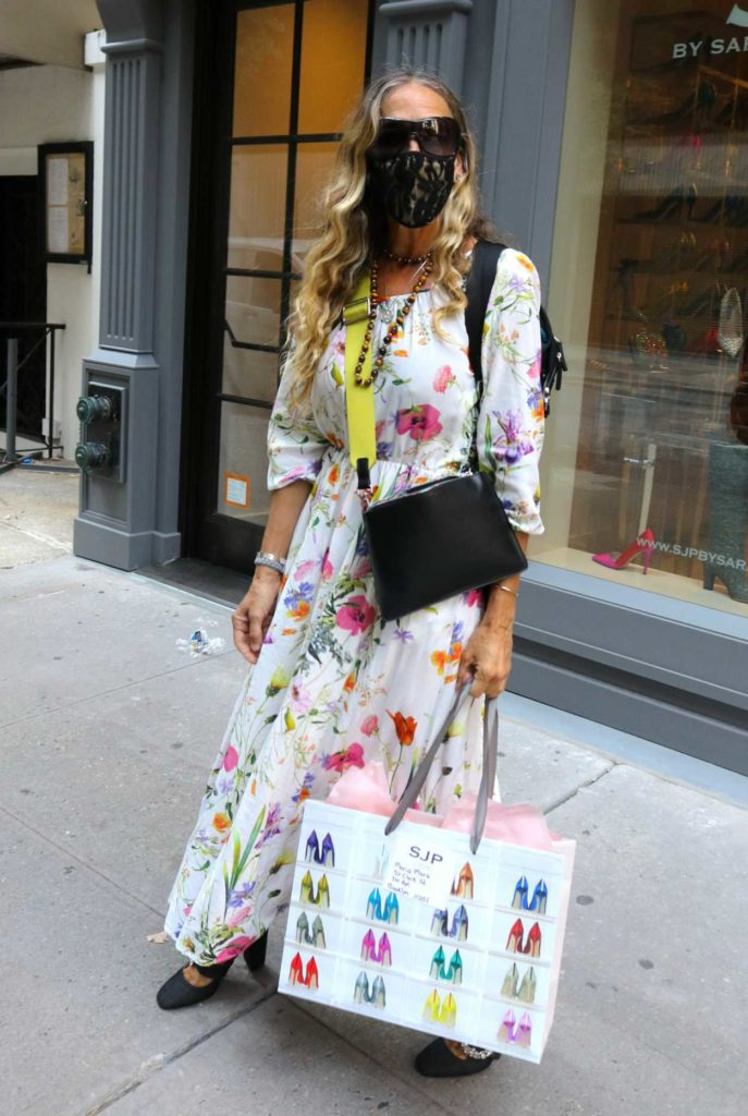 Sarah Jessica Parker in a White Floral Dress