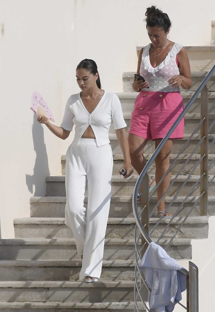 Shanina Shaik in a White Suit