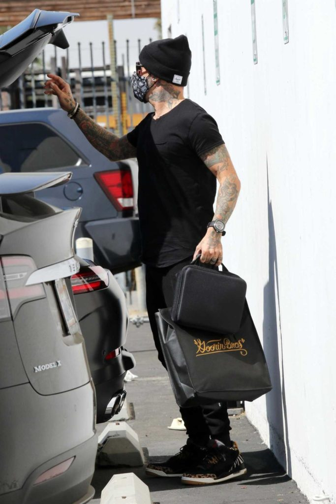AJ McLean in a Black Knit Hat