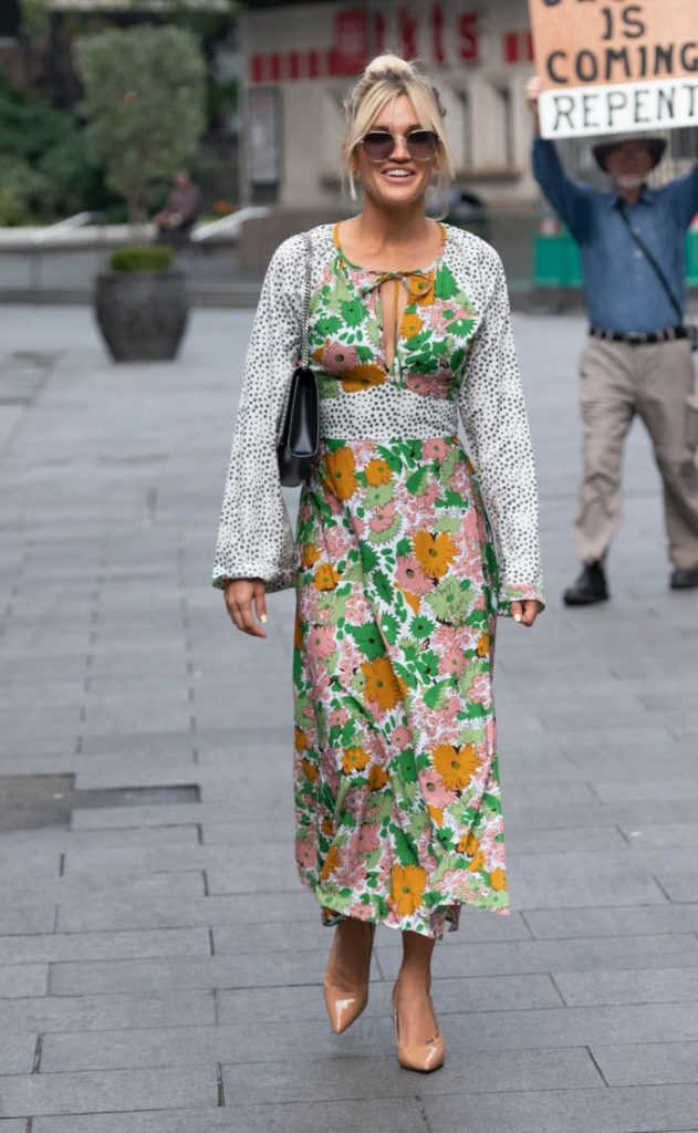 Ashley Roberts in a Floral Dress