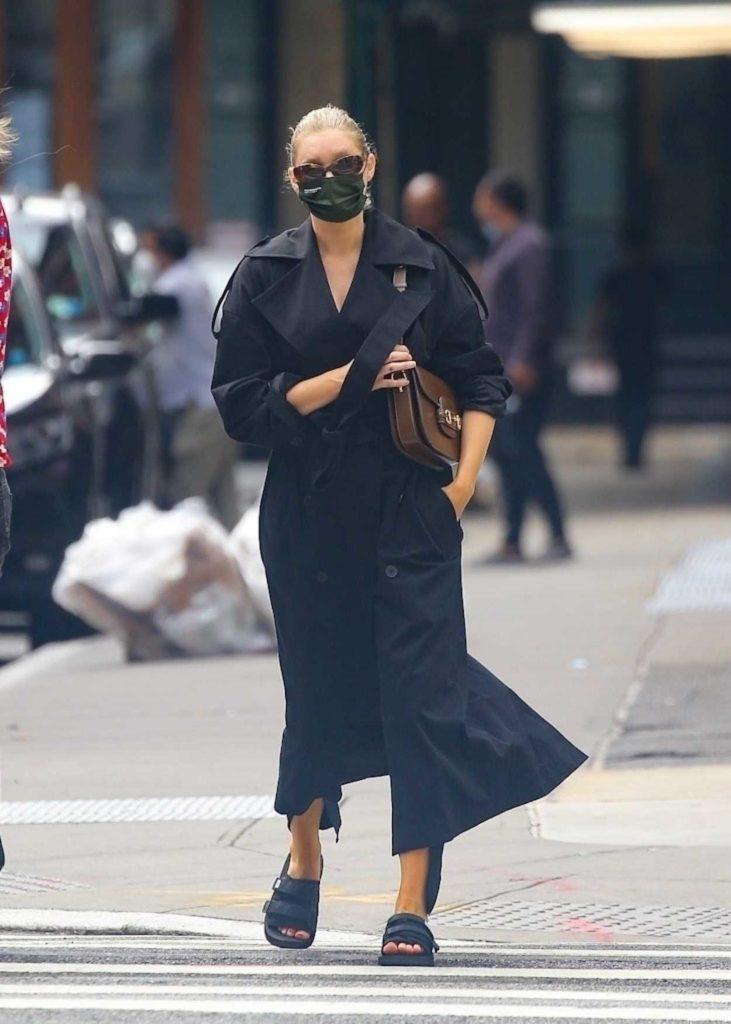 Elsa Hosk in a Black Protective Mask