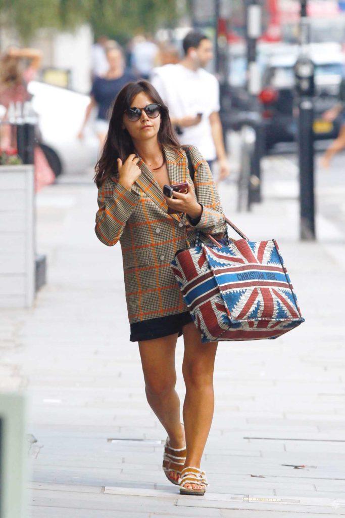 Jenna Coleman in a Grey Blazer