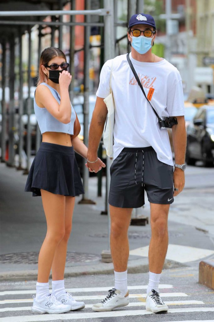 Kaia Gerber in a Black Mini Skirt