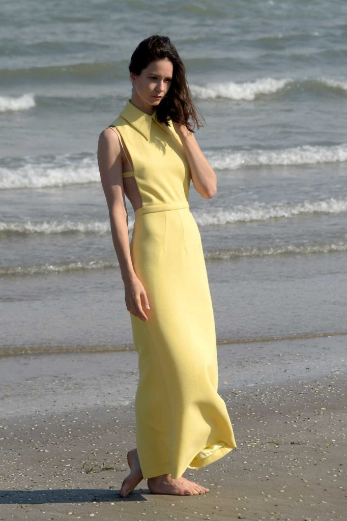 Katherine Waterston in a Yellow Dress