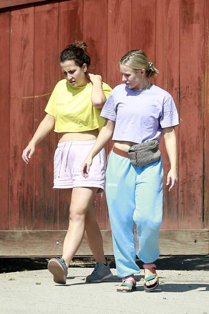 Kristen Bell in a Light Blue Sweatpants