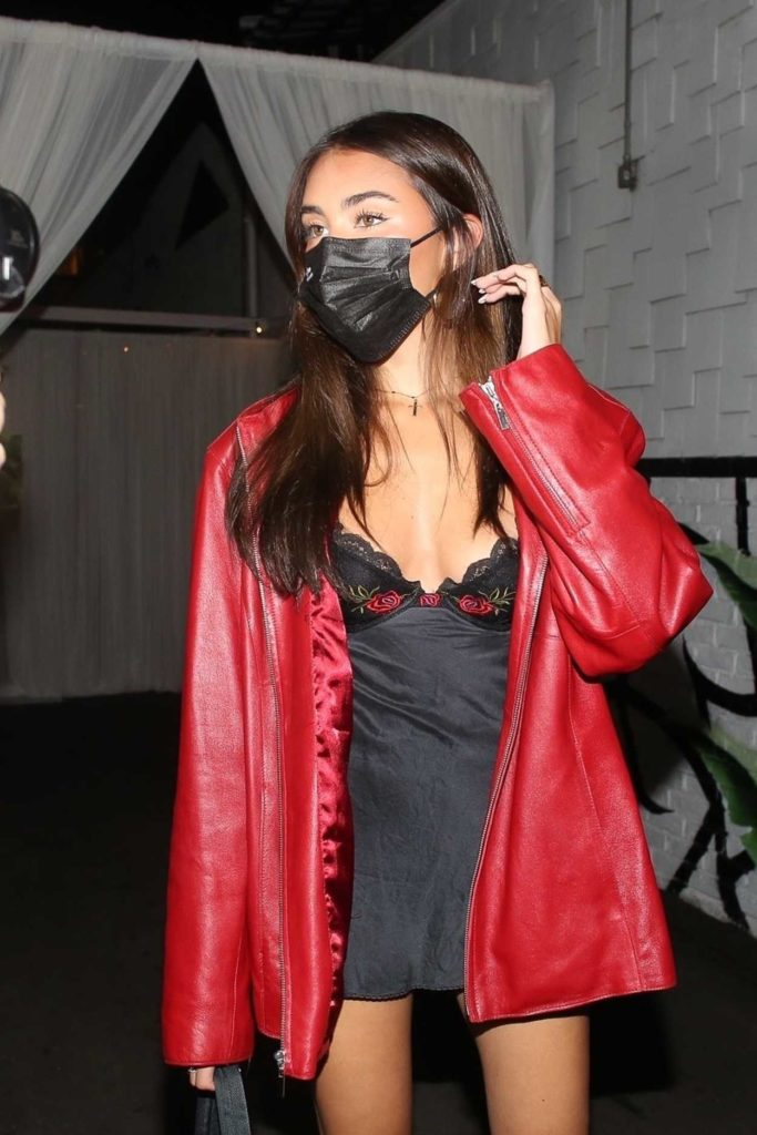 Madison Beer in a Red Leather Jacket