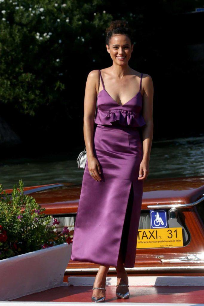 Nathalie Emmanuel in a Purple Dress