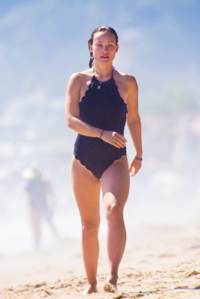 Olivia Wilde in a Black Swimsuit