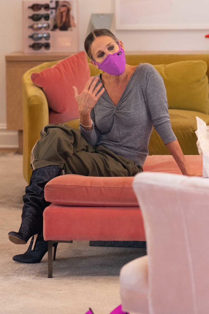 Sarah Jessica Parker in a Purple Protective Mask