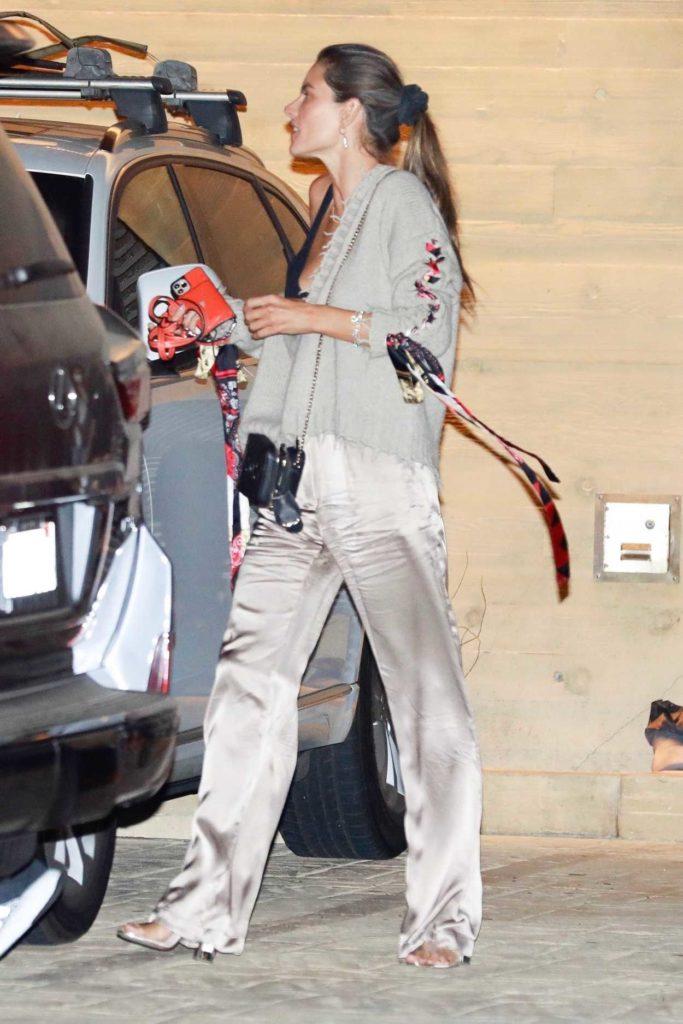 Alessandra Ambrosio in a Beige Silk Pants