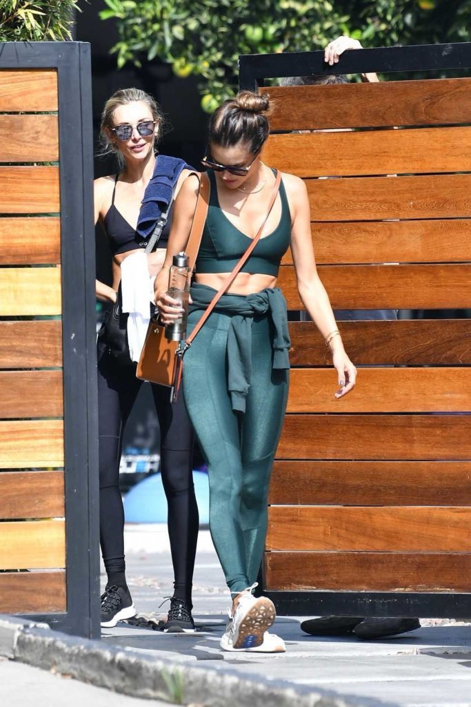 Alessandra Ambrosio in a Green Workout Ensemble