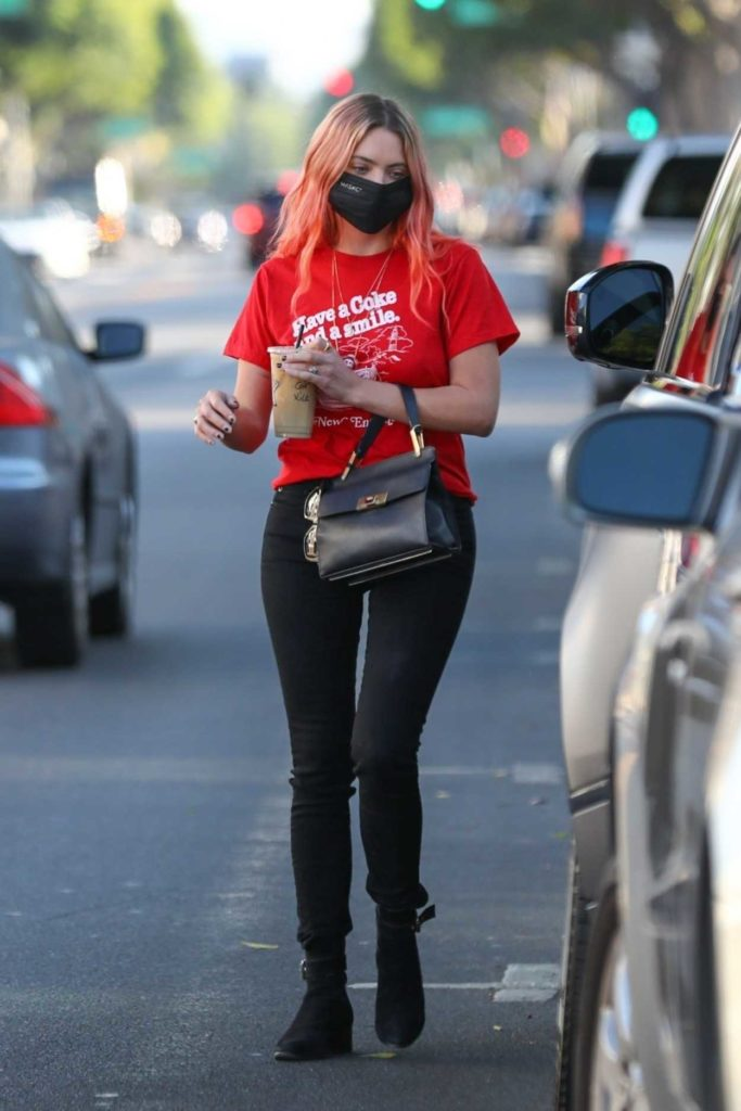 Ashley Benson in a Red Tee