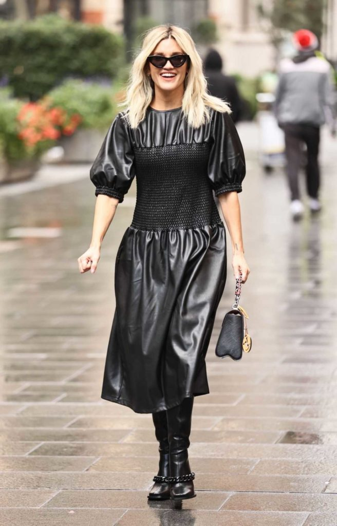 Ashley Roberts in a Black Leather Dress