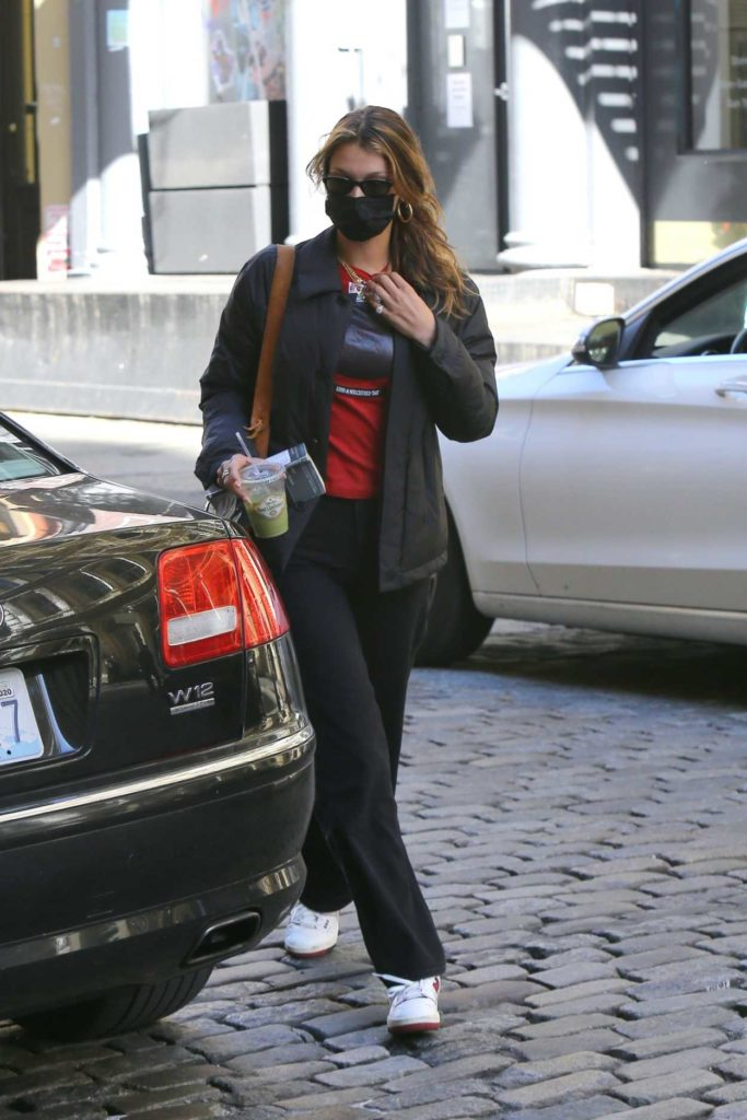 Bella Hadid in a Black Protective Mask