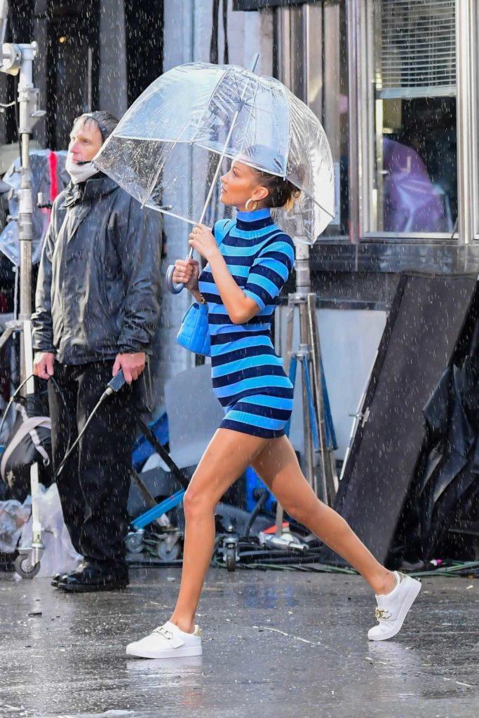 Bella Hadid in a Blue Striped Dress