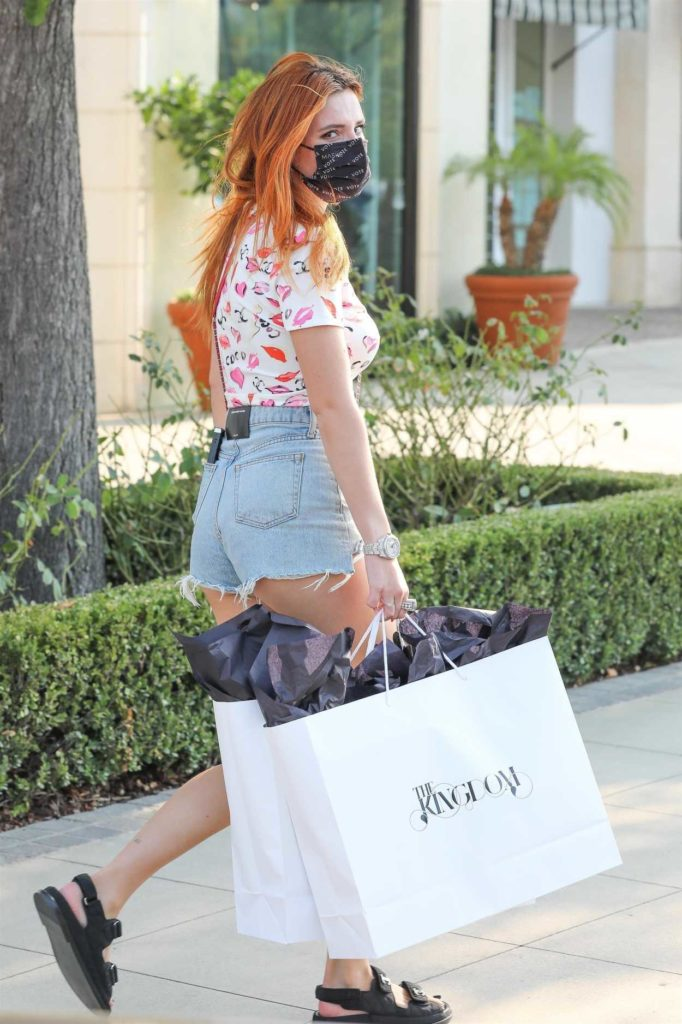 Bella Thorne in a Blue Denim Shorts