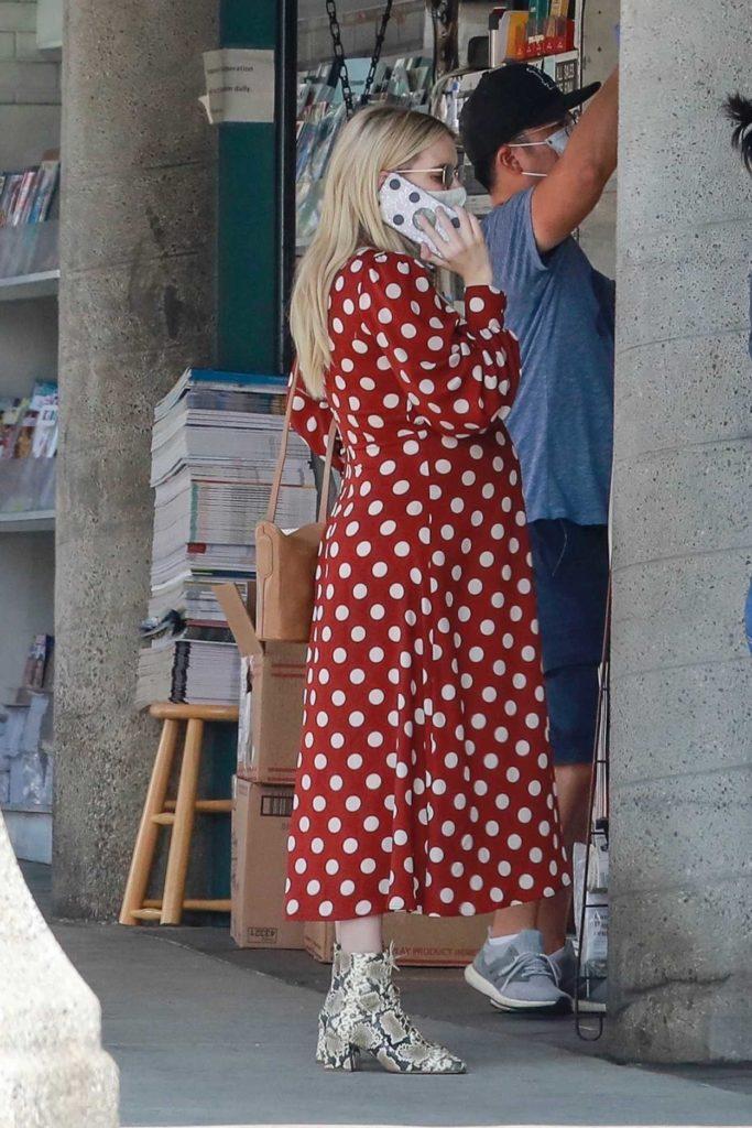 Emma Roberts in a Red Polka Dot Dress