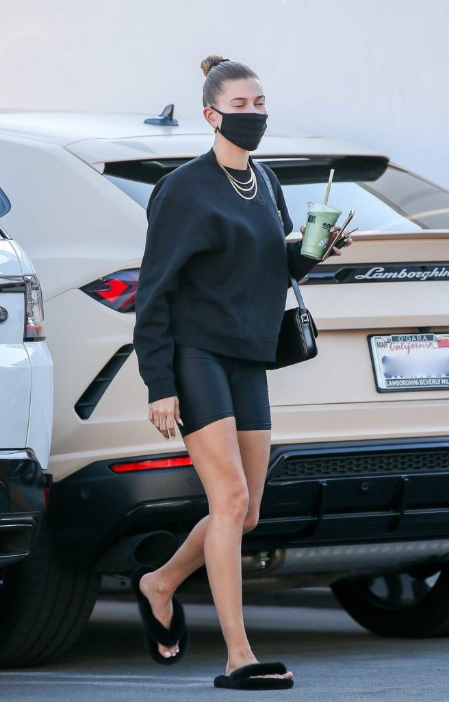 Hailey Bieber in a Black Protective Mask