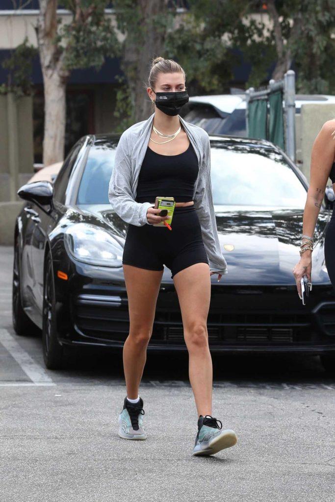 Hailey Bieber in a Black Spandex Shorts