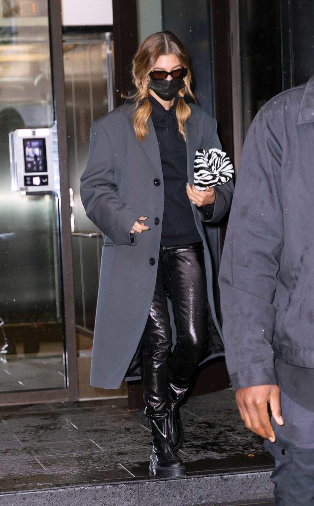 Hailey Bieber in a Grey Coat