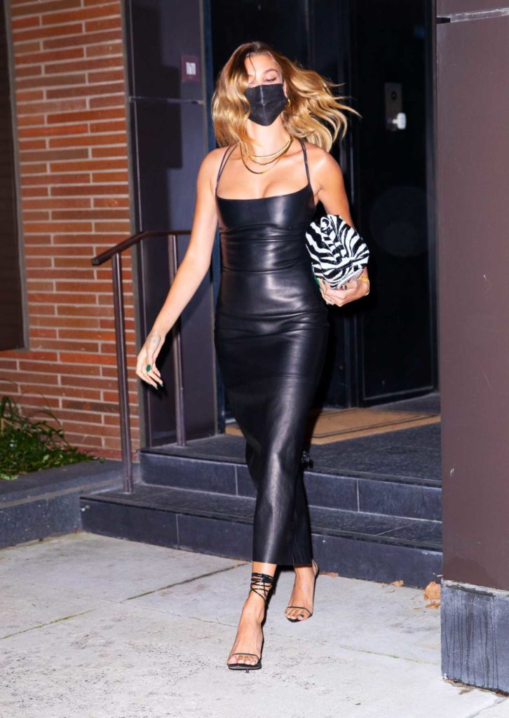 Hailey Bieber in a Skintight Black Dress