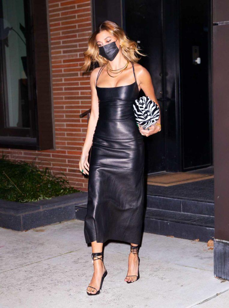 Hailey Bieber in a Skintight Black Dress