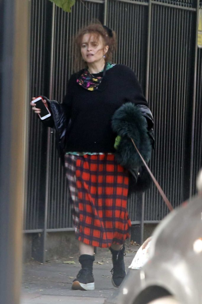 Helena Bonham Carter in a Plaid Skirt
