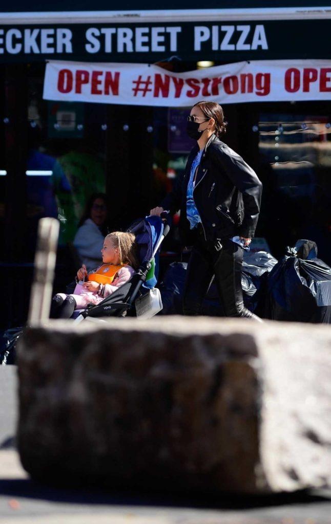 Irina Shayk in a Black Leather Jacket