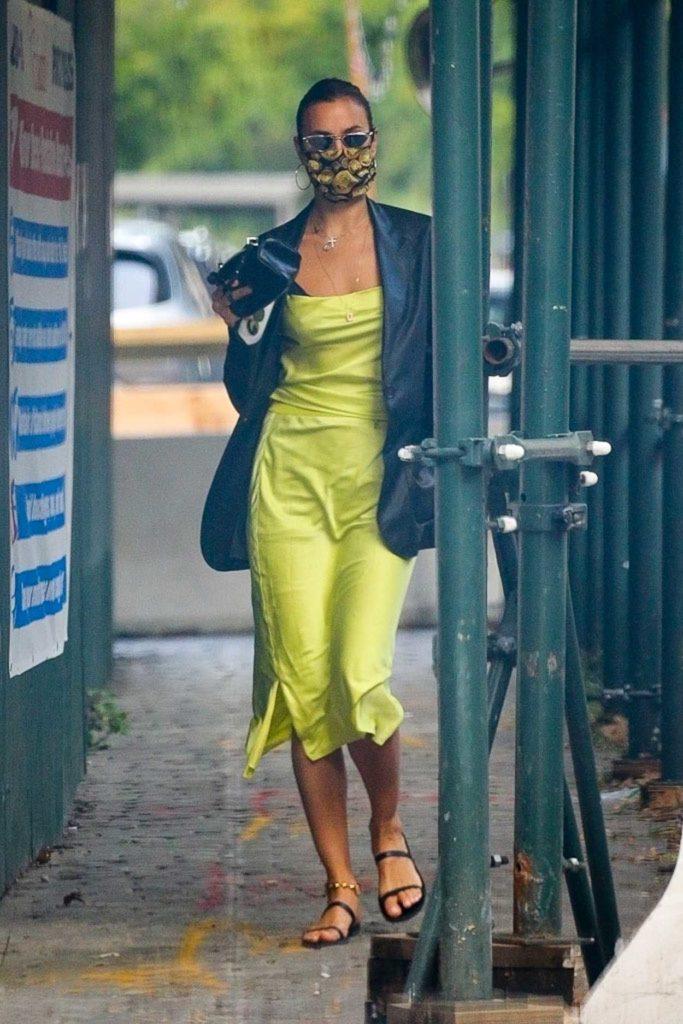 Irina Shayk in a Neon Green Dress