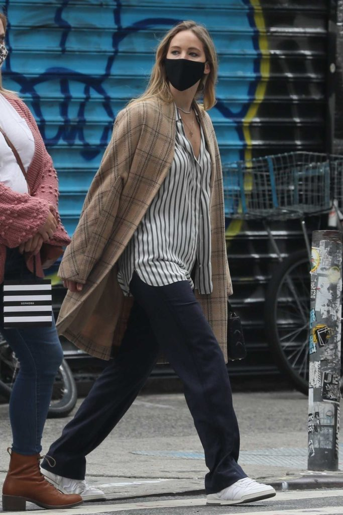 Jennifer Lawrence in a Black Protective Mask