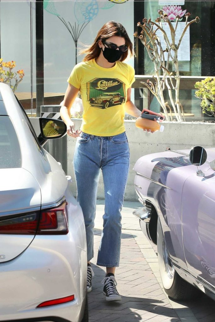 Kendall Jenner in a Yellow Tee