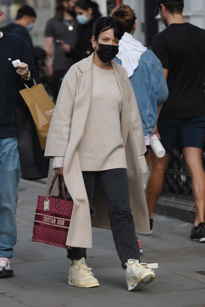 Lily Allen in a Black Protective Mask