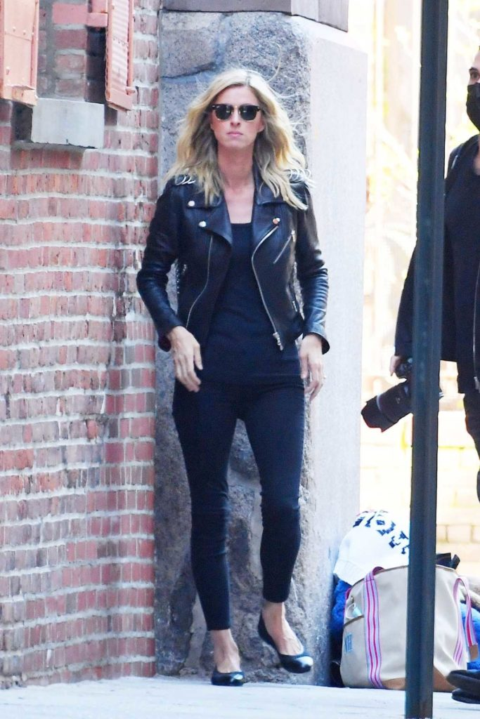 Nicky Hilton in a Black Leather Jacket
