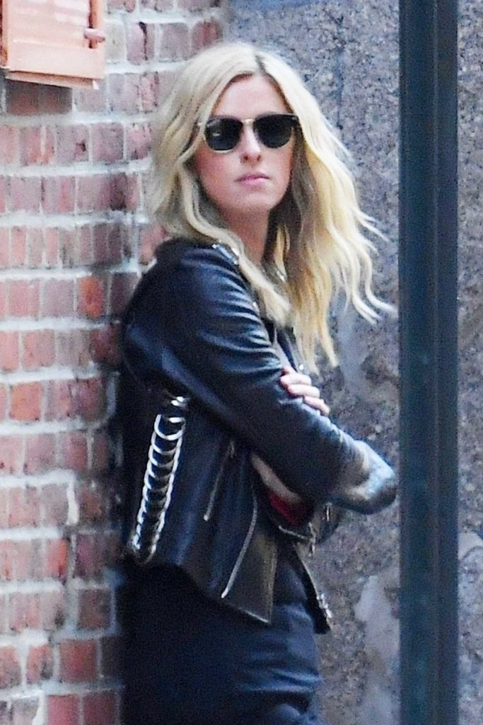 Nicky Hilton in a Black Leather Jacket