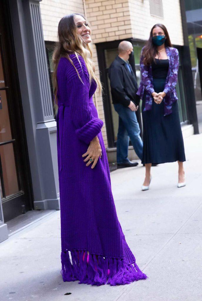 Sarah Jessica Parker in a Purple Knit Dress