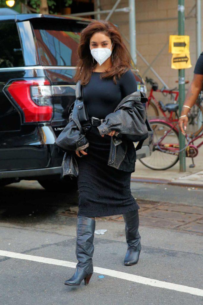 Vanessa Hudgens in a Black Leather Jacket