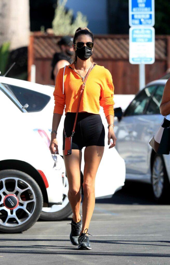 Alessandra Ambrosio in a Black Spandex Shorts
