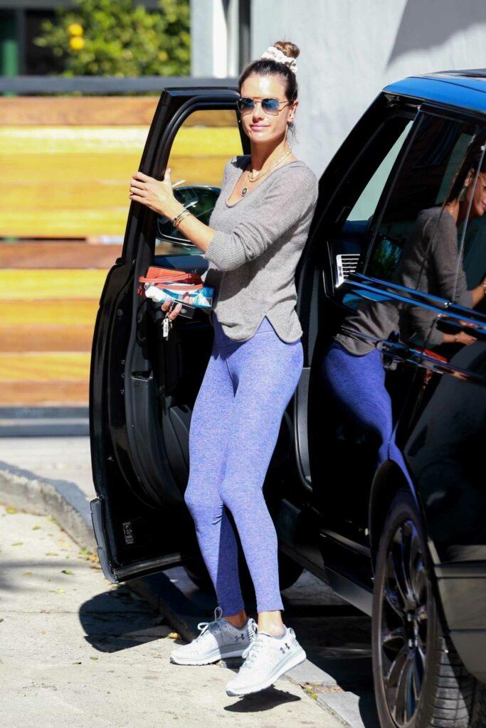 Alessandra Ambrosio in a Purple Leggings